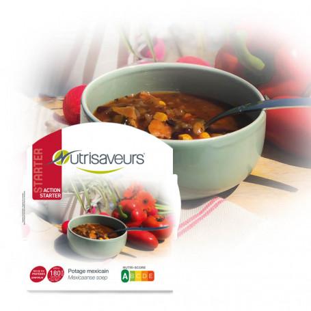 Plato cocinado proteico Sopa Mexicana con Pollo y Arroz Konjac Nutrisaveurs