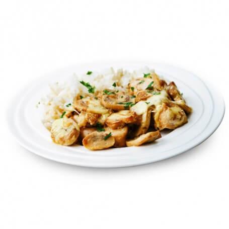Pollo con arroz y setas